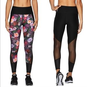 RBX floral 3/4 length workout pants with mesh